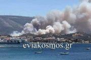 Μεγάλη φωτιά στα Στύρα- Εκκενώθηκε για προληπτικούς λόγους το Νιμπορειό